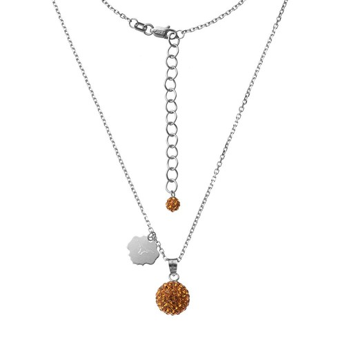 Texas Longhorns Crystal Sterling Silver Team Logo & Ball Pendant Necklace