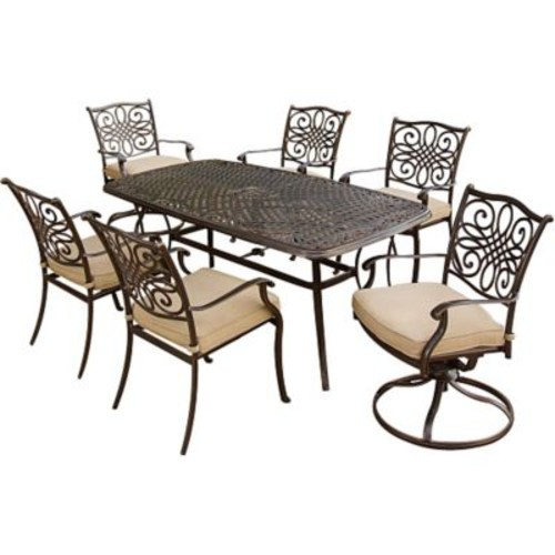 Hanover Traditions 7-Piece Outdoor Patio Dining Set, Bronze/Copper Metallic/Natural Oat