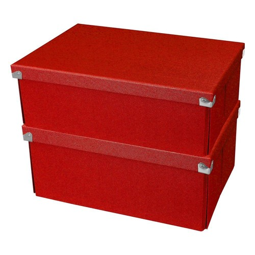 Samsill Pop n' Store Medium Square Box in Red (2-Pack)
