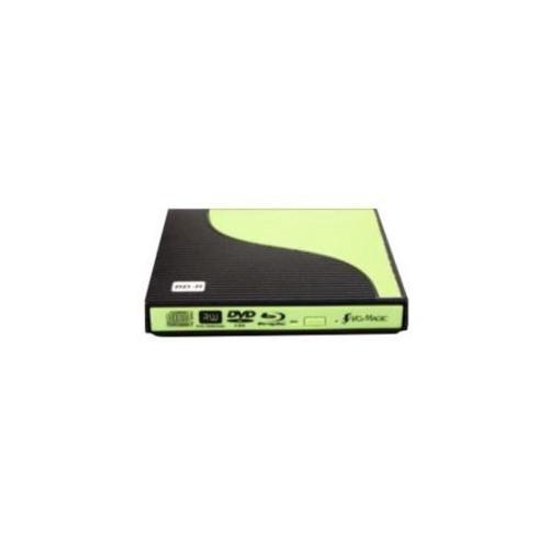 I/OMagic Slim External Blu-ray Reader Drive - USB 2.0 Interface, 6x BD-R, 8x DVD-RW, 8x DVD-ROM, 8x DVD DL, 24x CD-RW, w