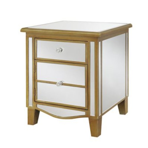 Convenience Concepts Inc. Gold Coast Park Lane Mirrored Glass End Table, Gold, Each (413551G)