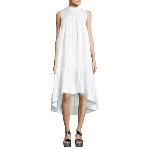 3.1 PHILLIP LIM Sleeveless Smock-Neck Trapeze Poplin Dress