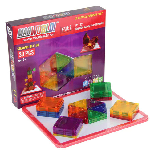 MagWorld Toys Rainbow 3D Magnetic Building Tiles 30 Pieces w/ Activity Board - G682318997151