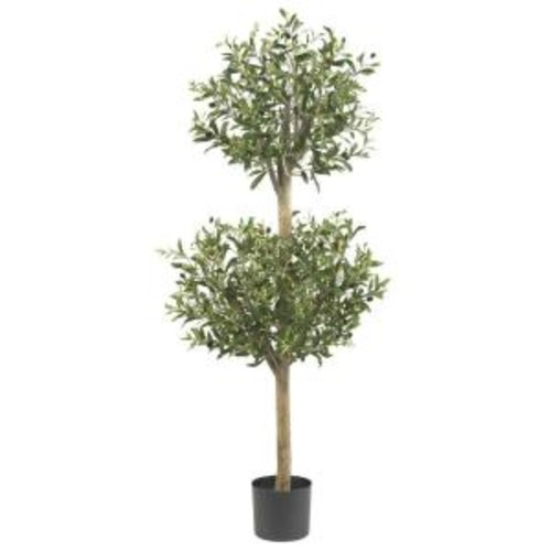 Nearly Natural 4.5 ft. Green Olive Double Topiary Silk Tree