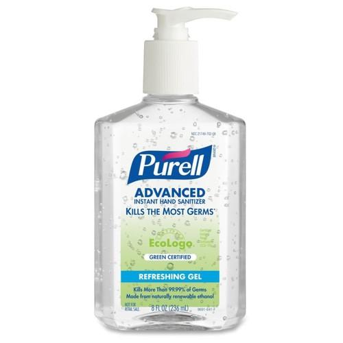 PURELL Green Certified Instant Hand Sanitizer - 8 fl oz (236.6 mL) - Pump Bottle Dispenser - Kill Germs - Skin, Hand - Clear - Biodegradable, Dye-free, Fragrance-free, Moisturizing - 1 Each