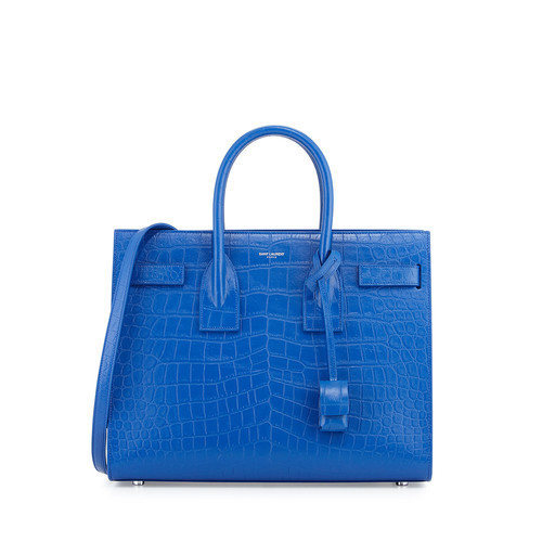 SAINT LAURENT Sac De Jour Small Crocodile-Embossed Satchel Bag, Royal Blue