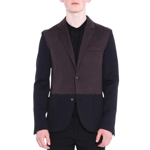 LANVIN Colorblock Two-Button Knit Blazer, Black/Brown