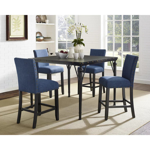 Biony 5-Piece Espresso Wood Counter Height Dining Set with Fabric Nail head Chairs [Finish : Brown Finish/Grey Finish]
