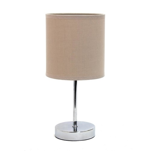 Simple Designs 11.7 in. Chrome Mini Basic Table Lamp with Gray Fabric Shade