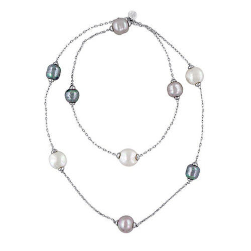 12-15MM Multi-Color Baroque Pearl and Sterling Silver Necklace