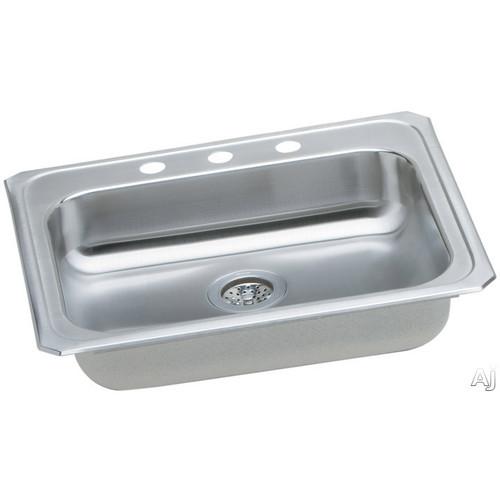 Elkay GECR2521 Gourmet (Celebrity) Self-Rim Single Bowl Kitchen Sink Stainless Steel - 3 Holes