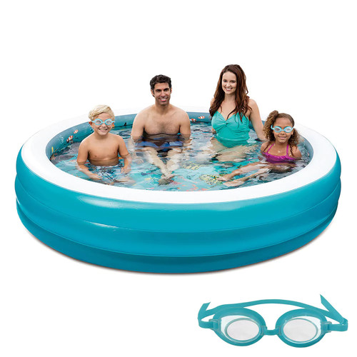 Blue Wave 7.5-Foot 3D Inflatable Round Family Pool