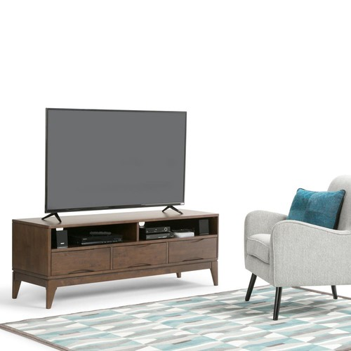 Simpli Home Harper Walnut Brown Entertainment Center
