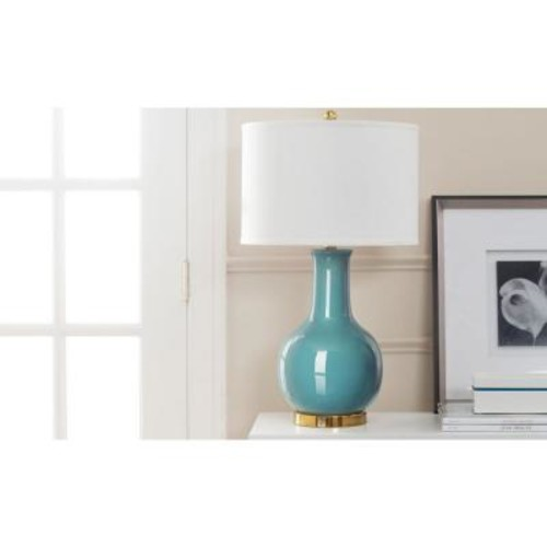 Safavieh 27.5 in. Light Blue Ceramic Paris Lamp with White Shade