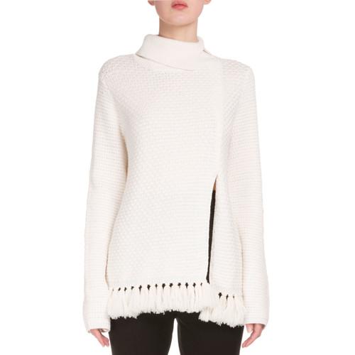PROENZA SCHOULER Front-Slit Fringe-Hem Sweater, Off White