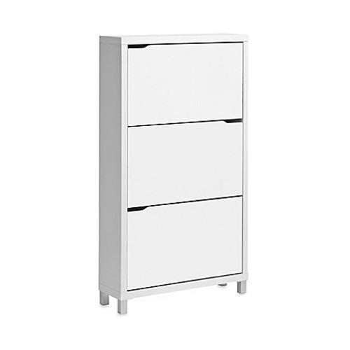 Baxton Studio Simms 3-Tier Shoe Cabinet in White