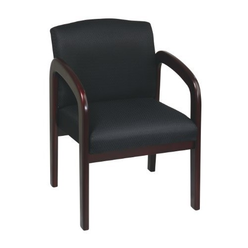 Office Star Padded Fabric Seat and Back Visitors Chair with Mahogany Finish Frame, Black Triangle [Black Triangle Fabric, Contemporary]