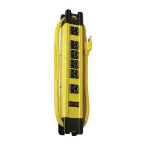 Woods Metal 6-Outlet Workshop Power Strip with Cord Wrap and 2-Transformer Outlets 15 ft. Power Cord - Yellow