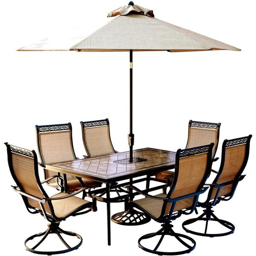 Hanover Monaco 7-Piece Outdoor Dining Set with Rectangular Tile-Top Table and Contoured Sling Swivel Chairs, Umbrella and Base