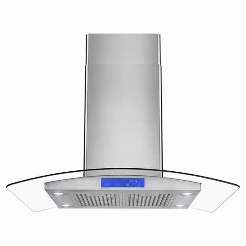 AKDY 36 in. Convertible Island Mount Range Hood in Stainless Steel with Tempered Glass, LEDs and Touch Control