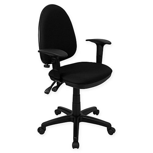 Flash Furniture Mid-Back Fabric Drafting Arm Chair With Adjustable Lumbar Support in Black