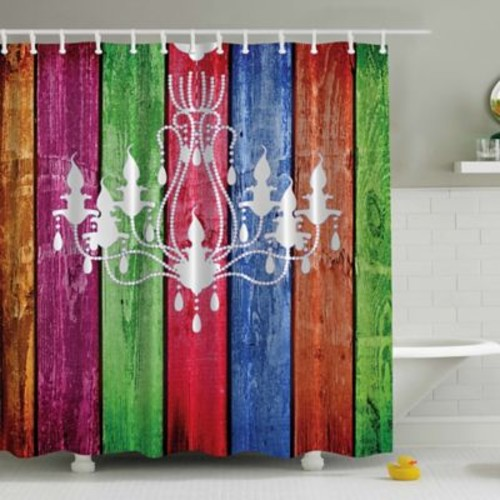 Ambesonne French Chandelier on Wood Plank Print Shower Curtain