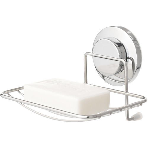 Everloc Push N' Loc Suction Cup Soap Holder with Chrome Cover