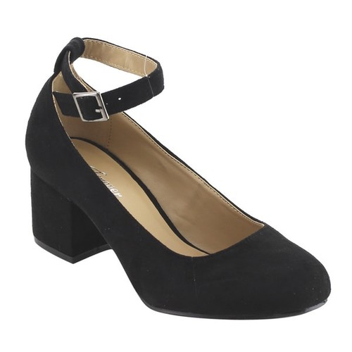 Forever IE38 Women's Buckle Ankle Strap Block Heel Pumps [option : Black - 6.5]