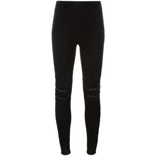 SAINT LAURENT Suede Motorcycle Leggings