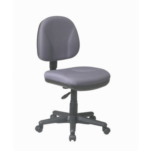 Office Star Work Smart Collection Adjustable Armless Gray Fabric Task Chair with Black Frame [Gray]
