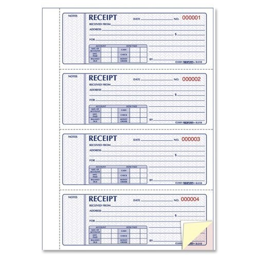Rediform Prestige Money Receipt Books, Triplicate Carbonless, Hardcover, 200 Sets per Book (8L818) : Blank Receipt Forms : Office Products