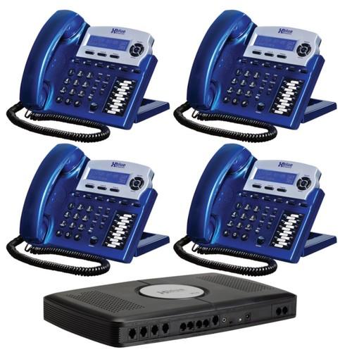 XBLUE Networks X16 Corded Telephone Bundle, Vivid Blue, Set of 4