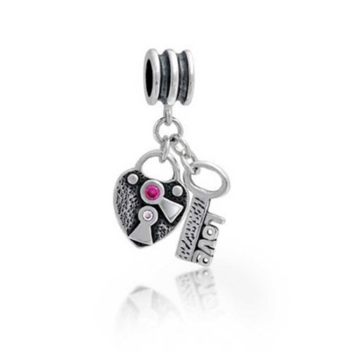 Bling Jewelry Heart Shaped Lock and Key Dangling Love Themed Charm Bead .925 Sterling Silver