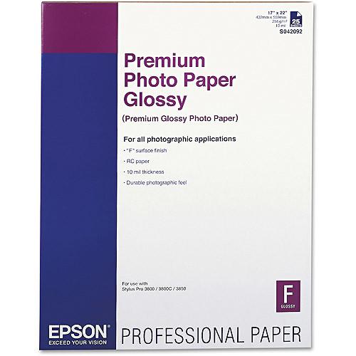 Epson Premium Photo Paper, 68 lbs., High-Gloss, 17 x 22, 25 Sheets/Pack