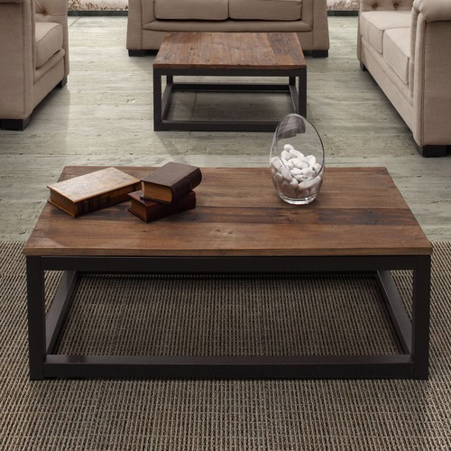 Civic Center Long Coffee Table in Distressed Natural by Zuo Era