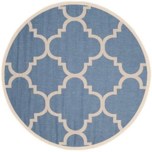 Safavieh Courtyard Blue/Beige 5 ft. 3 in. x 5 ft. 3 in. Indoor/Outdoor Round Area Rug