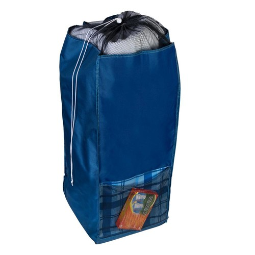 Honey-Can-Do Back to School Blue Polyester Laundry Hamper with Straps