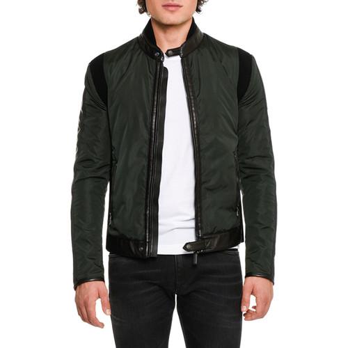 DOLCE & GABBANA Leather-Trim Nylon Jacket, Dark Green