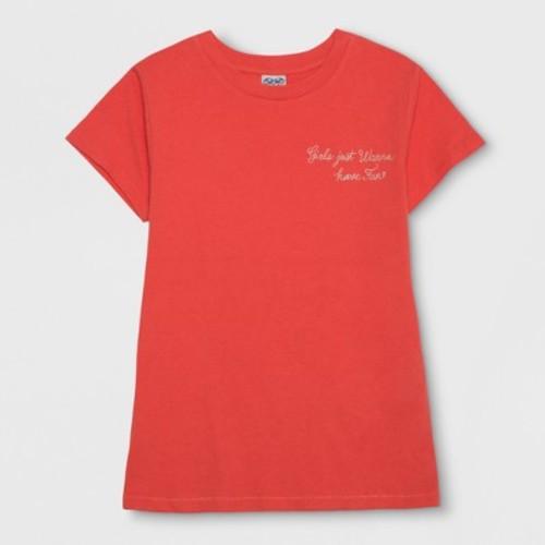 Junk Food Women's Girls Just Wanna Have Fun Short Sleeve T-Shirt (Juniors') - Red