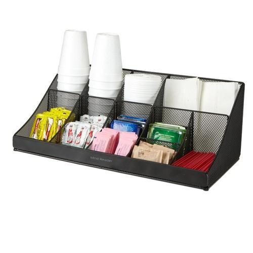 Mind Reader 11 Compartment Black Mesh Coffee Condiment Organizer
