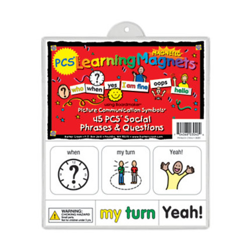 Barker Creek Magnets, Learning Magnets PCS, Social Phrases & Questions Set, Grades Pre-K+, Pack Of 90