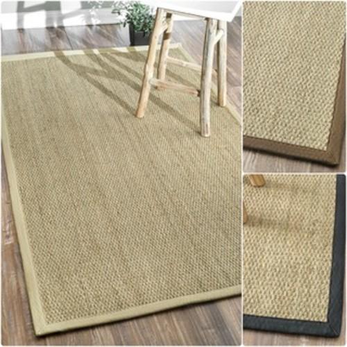 nuLOOM Handmade Natural Fiber Cotton Border Seagrass Rug (8' x 10')