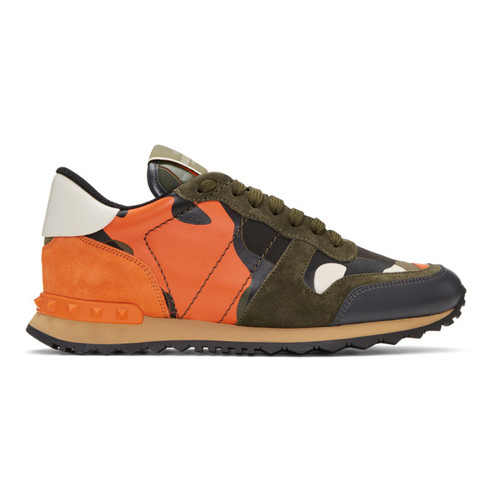 VALENTINO Green & Orange  Garavani Camo Rockrunner Sneakers