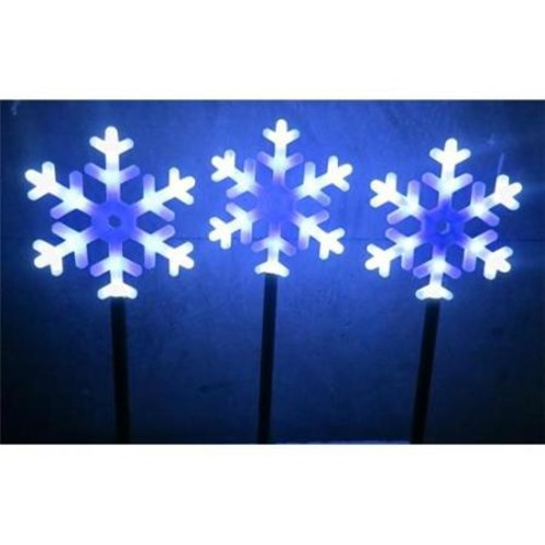 Snowflake Flashing Garden Stakes 12 Led Per Stake - Set Of 3