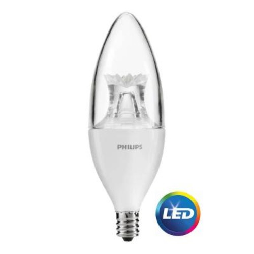Philips 60W Equivalent Daylight B12 Candle Dimmable LED Light Bulb (4-Pack)