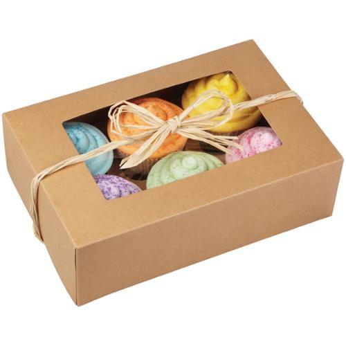 Wilton 6-Cavity Cupcake Box, Kraft 2 ct. 415-0740