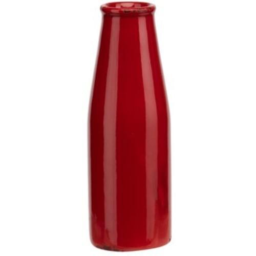 Prinz Artisan Ceramic Milk Bottle Shaped Table Vase; Red
