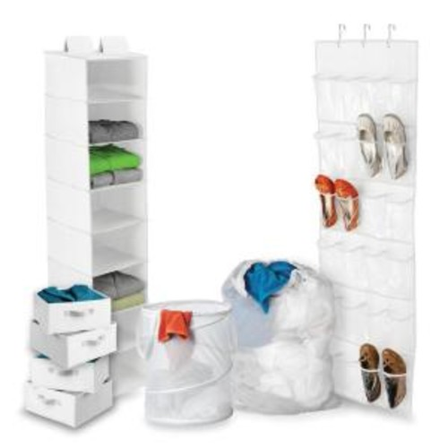 Honey-Can-Do 8-Piece Back-to-School Closet Storage and Laundry Kit in White