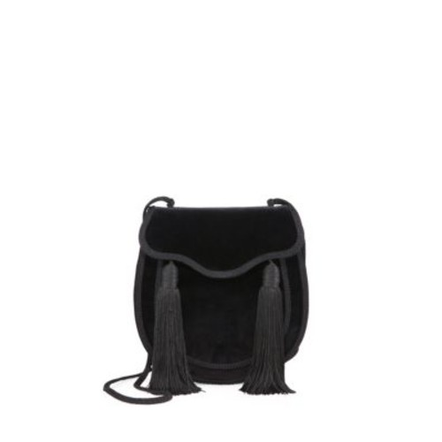 SAINT LAURENT Opium 2 Tassel-Trim Velvet Crossbody Bag