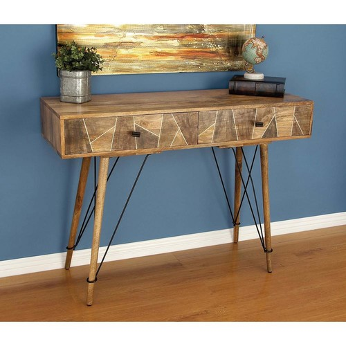 Rustic Wood and Metal Geometric Console Table